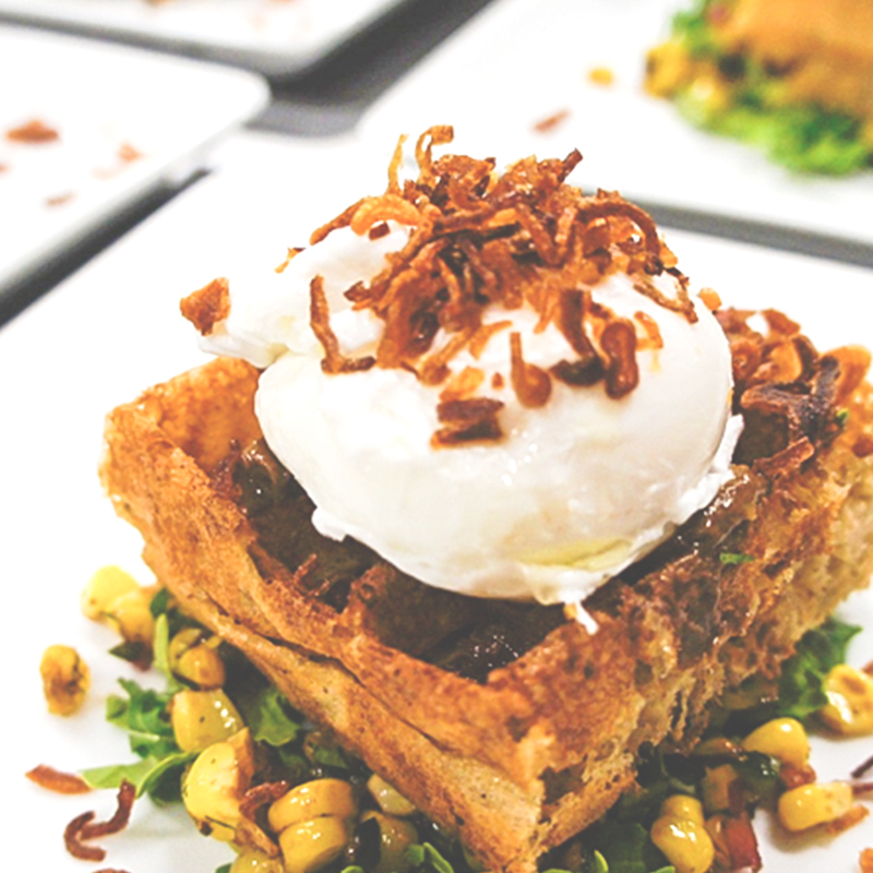Brussel Waffle With Poached Egg